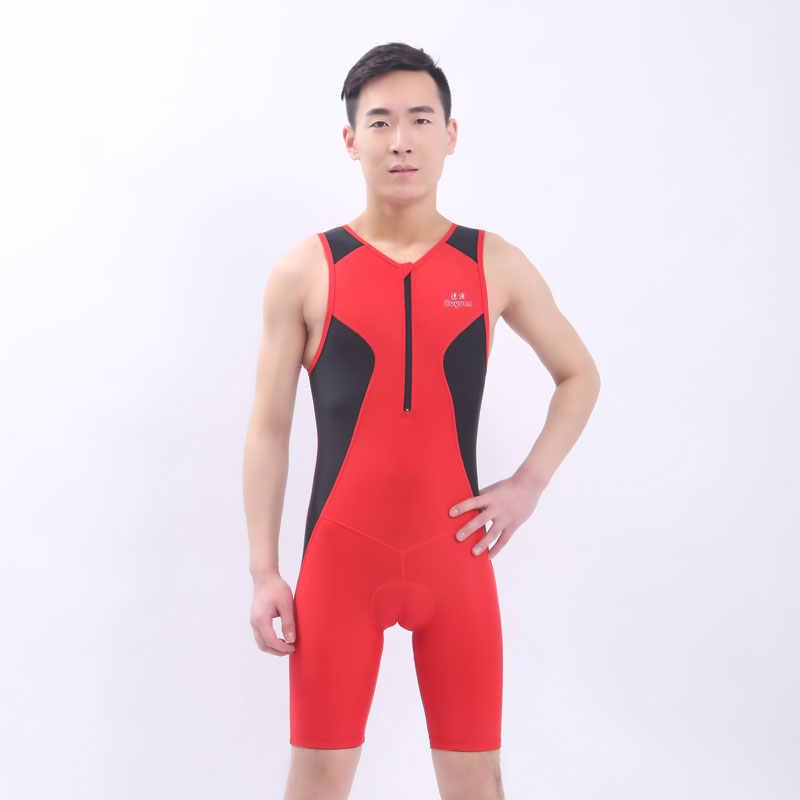 Cepat Pengiriman Ironman Triathlon Skinsuit Lengan Terintegrasi Gugatan Swimwear One-piece Bersepeda Jersey Untuk Pelatihan Kompetisi
