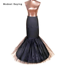 2017 High Quality 1 Hoop Black Slip Petticoat Underskirt For Mermaid Wedding Dress Bridal Gowns Wedding Accessories Crinoline