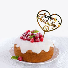 1pc Acrylic Cake Topper Happy Birthday Card Banner DIY Wedding Party Decoration