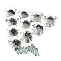 KSOL 10Pcs 40mm Crystal Glass Diamond Shape Cabinet Knob Drawer