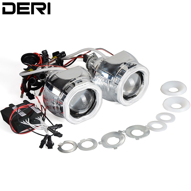 2.8 inch 35W Square HID Bi-xenon Projector Lens Car Auto Headlights with White Color Angel Eyes use H1 Bulb For H4 H7 Headlight safego 2 5 inch projector lens mask shroud with double angel eyes for car hid headlight headlamp projector lens for h1 h7 h4