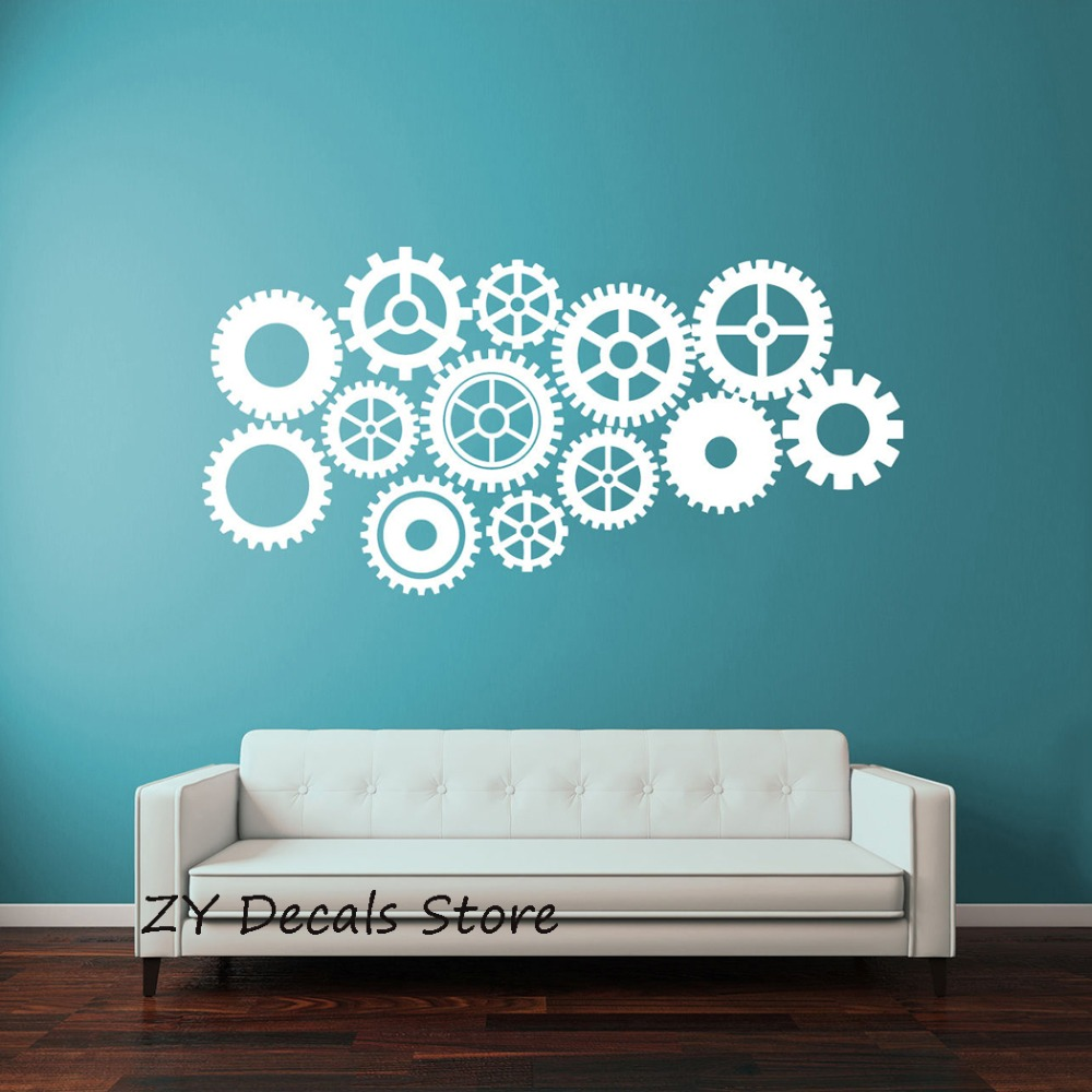 Creative Gear Wall Stickers Home Decor Living Room Steampunk Gears and Cogs Geometric Machine Vinyl Wall Decal for Office S657