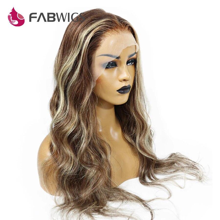 Fabwigs 180% Densidade Ombre Dianteira Do Laço Loira Perucas de Cabelo Humano Pré Arrancadas Transparente Dianteira Do Laço Perucas Para As Mulheres Negras Remy cabelo