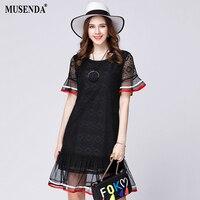Glorria Women Mesh Lace Patchwork See Through Ruffles Dress 2017 Summer Lady Cute Sweet Mini Dresses