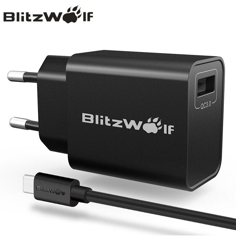 BlitzWolf QC3.0 USB Ladegerät Reise Wand Ladegerät Adapter Handy Ladegerät Universal Für iPhone 7 6 s 6 Für Samsung mit Kabel