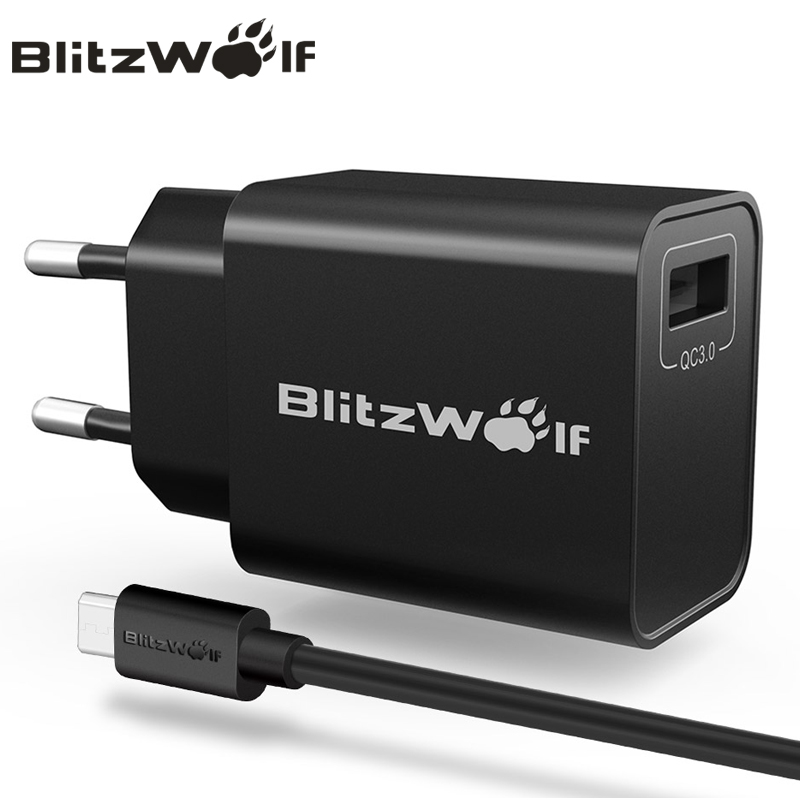 BlitzWolf QC3.0 USB <font><b>Charger</b></font> Travel Wall <font><b>Charger</b></font> Adapter Mobile <font><b>Phone</b></font> <font><b>Charger</b></font> Universal For iPhone 7 6s 6 For Samsung With Cable