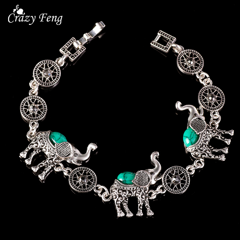 HTB1eKUwQpXXXXXnapXXq6xXFXXXT - Fashion Green African Jewelry Sets for Women Vintage Silver Color Elephant Pendant Necklace Earrings Bracelets Jewellery Gift