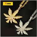 2016 New Gold Plated Unisex Women / Men cannabina Maple Fashion Hempleaf Pendant Necklace Hiphop Jewelry