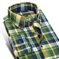Men S Smart Casual Long Sleeved Thick Plaid Button Down Shirt Winter Brushed Flannel Male Slim