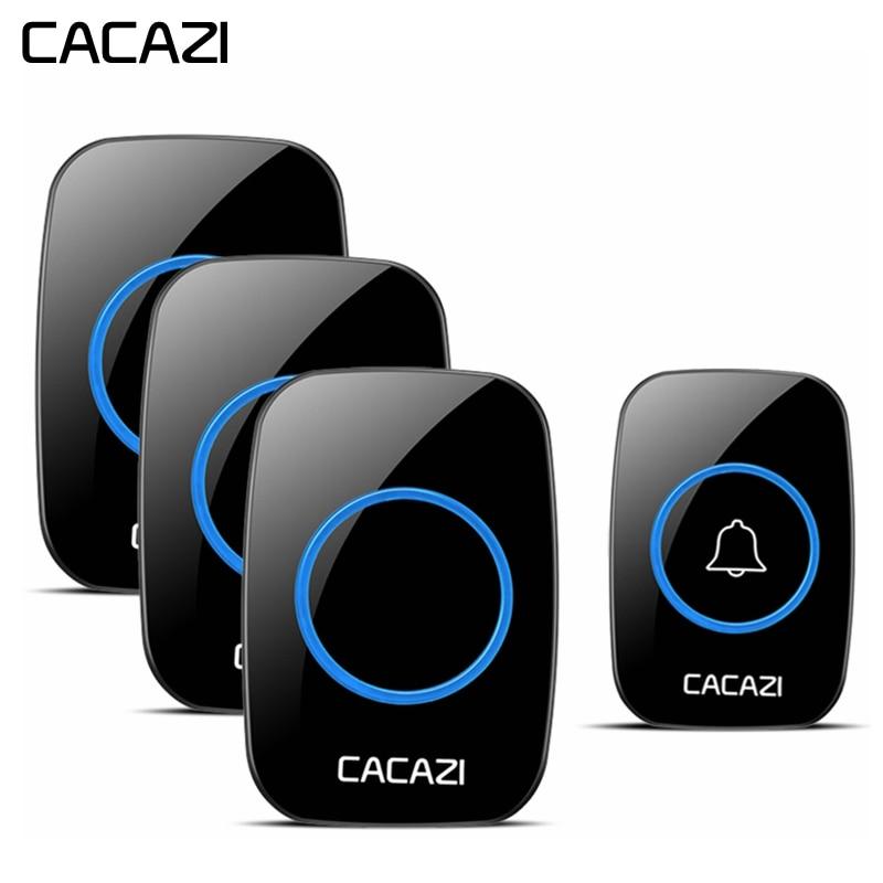 CACAZI Sans Fil À Domicile Sonnette Étanche 1 bouton-poussoir 3 Récepteurs US EU UK Plug lumière led Sans Fil Intelligent sonnette 60 Carillons