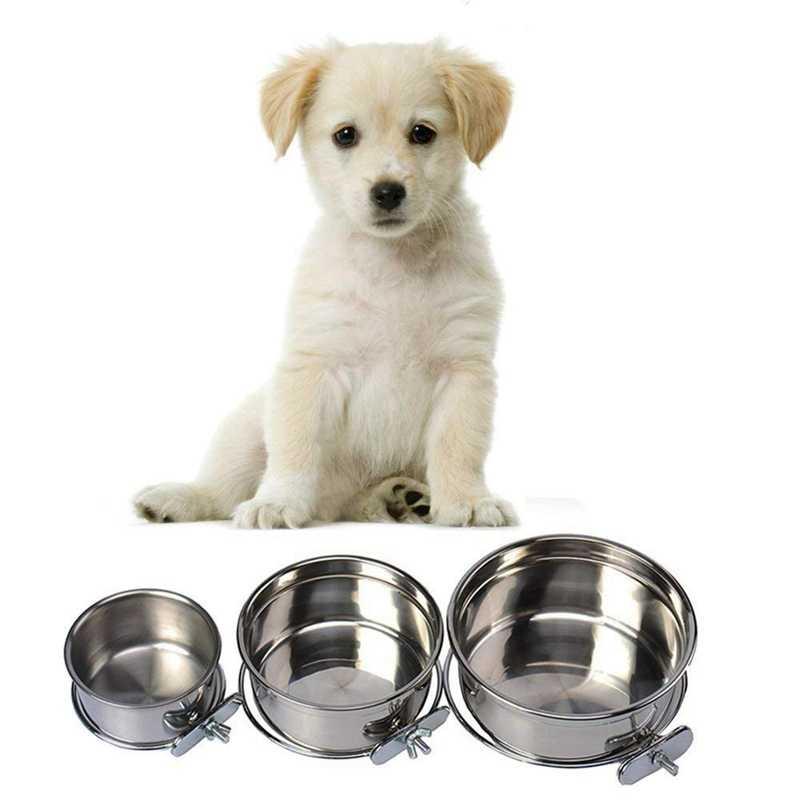 Pet Съемная клетка висячая кормушка из нержавеющей стали прочная собачья миска для воды еды 4 размера