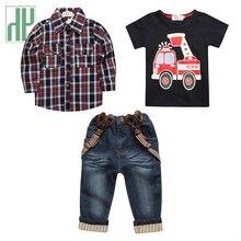 3PCS kids clothes boys Gentlemen Shirt Plaid Overshirt+T-Shirt+Suspender Jeans Pants Clothes Sets children 2 7 years