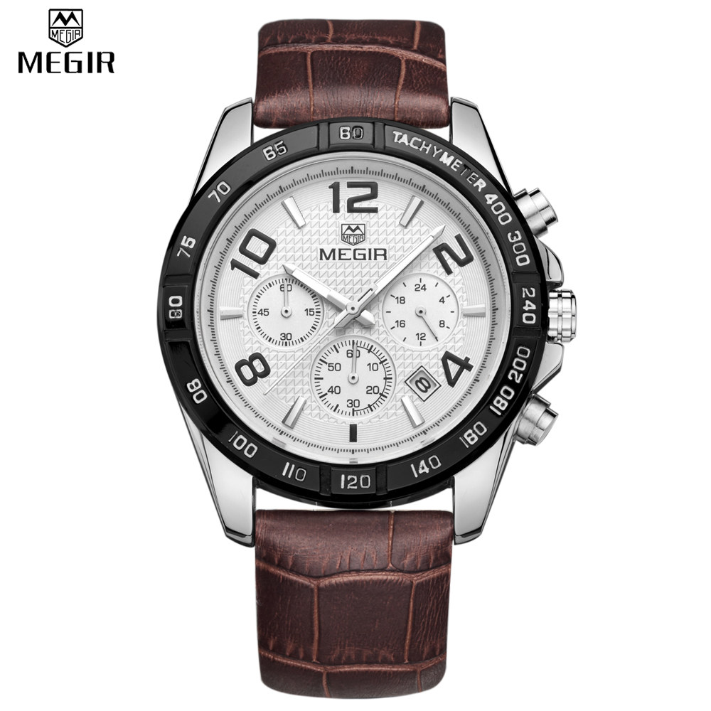 MEGIR Watch Male Chronograph Genuine Leather Watches Men Waterproof Shock Analog Quartz Army Military Casual Sports