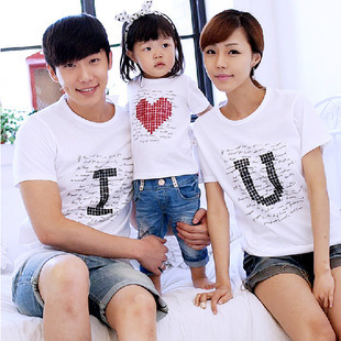 2018 New!!! Popular Summer Family cotton set clothes for motherkid and father short-sleeve T-shirt Parent-child Letters T-shirt