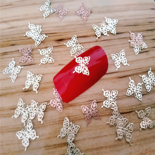 10pcs nail decoration butterfly metal Ultra thin sheet soft copper sheet gold do not fade nail jewelry