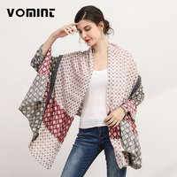 Vomint 190cm X 90cm Autumn Brand Patchwork Elegant Beach Scarf For Women Striped Pattern Design Lady