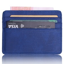 TRASSORY Small Mini Travel Lizard Pattern Leather Bank Business Id Card Holder Wallet Case For Men Women With Window