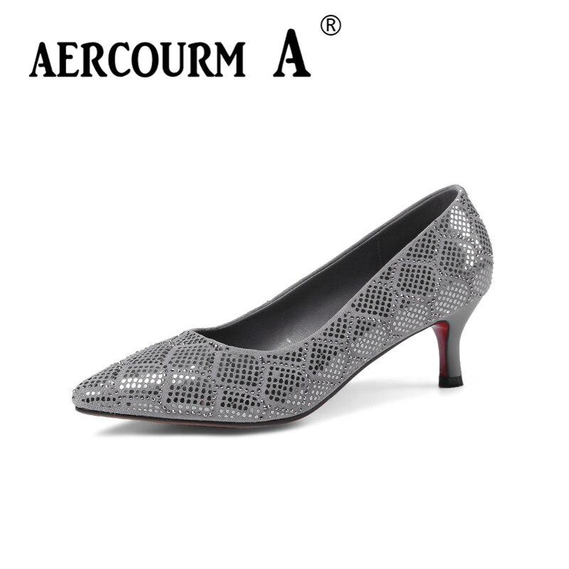 Aercourm A 2018 г. Для женщин обувь в стиле шик женские туфли-лодочки без застежки Grils Пояса из натуральной кожи Обувь с острым носком Низкий каблук ...