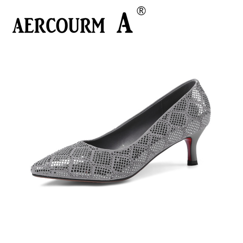 Aercourm A 2018 Women Bling Shoes Women Slip-on Pumps Grils Genuine Leather Shoes Pointed Head Low Heels Crystal Shoes HYT6118 aercourm a 2018 new women genuine leather shoes ladies white pink dress solid shoes thin heel women pointed head pumps fde1121