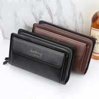 Men Wallets with coin pocket zipper Double Zipper Male Wallet long Large Men Purse coin clutch bag black brown Business