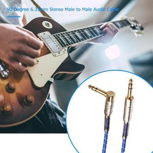 Image 4 - 90 grad hohe quility 6,35mm Stereo Stecker auf Stecker Audio Kabel für elektrische gitarre, mikrofon, power verstärker kombination audio
