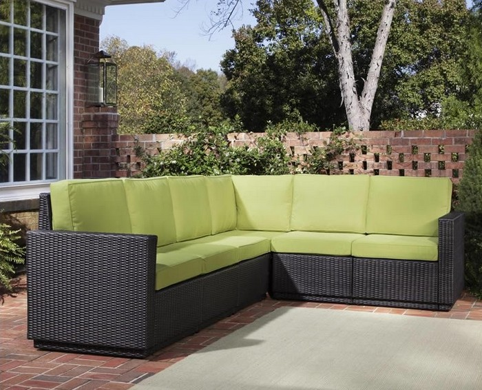 home styles riviera six seat l shape outdoor rattan sectional in green applechina