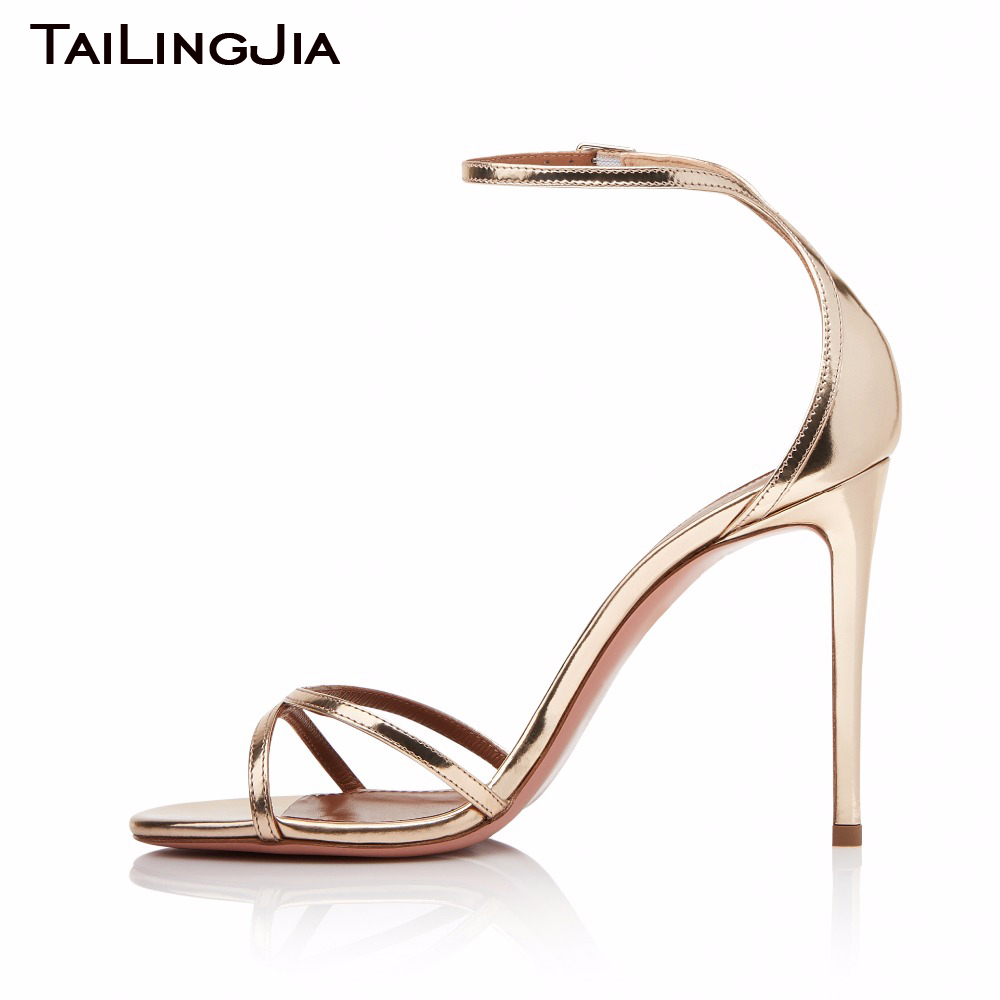 2018 Hot Woman Big Size High Thin Heels Shoes with Strap Summer Sexy Stiletto Sandals  Golden Silver Fashion Wedding