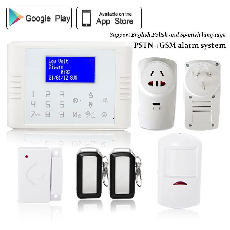 English/Polish/Spanish/Russian Wireless PSTN GSM Alarm System home security kit SIM card with home appliance control socket dual network russian spanish french wireless gsm pstn alarm system home security alarm systems with lcd keyboard without battery