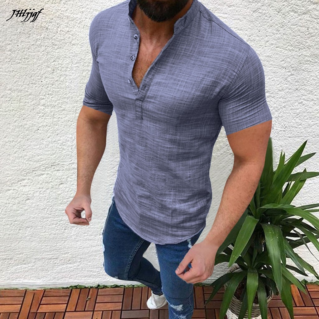 2019 Men Summer Casual Blouse Cotton Linen V Neck Loose Tops Short Sleeve   POLO   Shirt New Arrival Clothing S-5XL