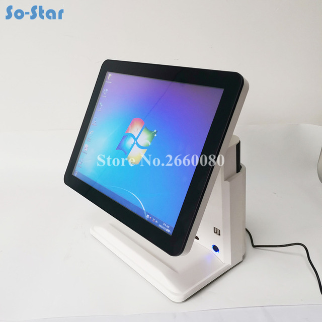 POS System Terminal Machine for Restaurant & Supermarket 15'' LCD Monitor Touch Screen and Small Customer Display Cash Register