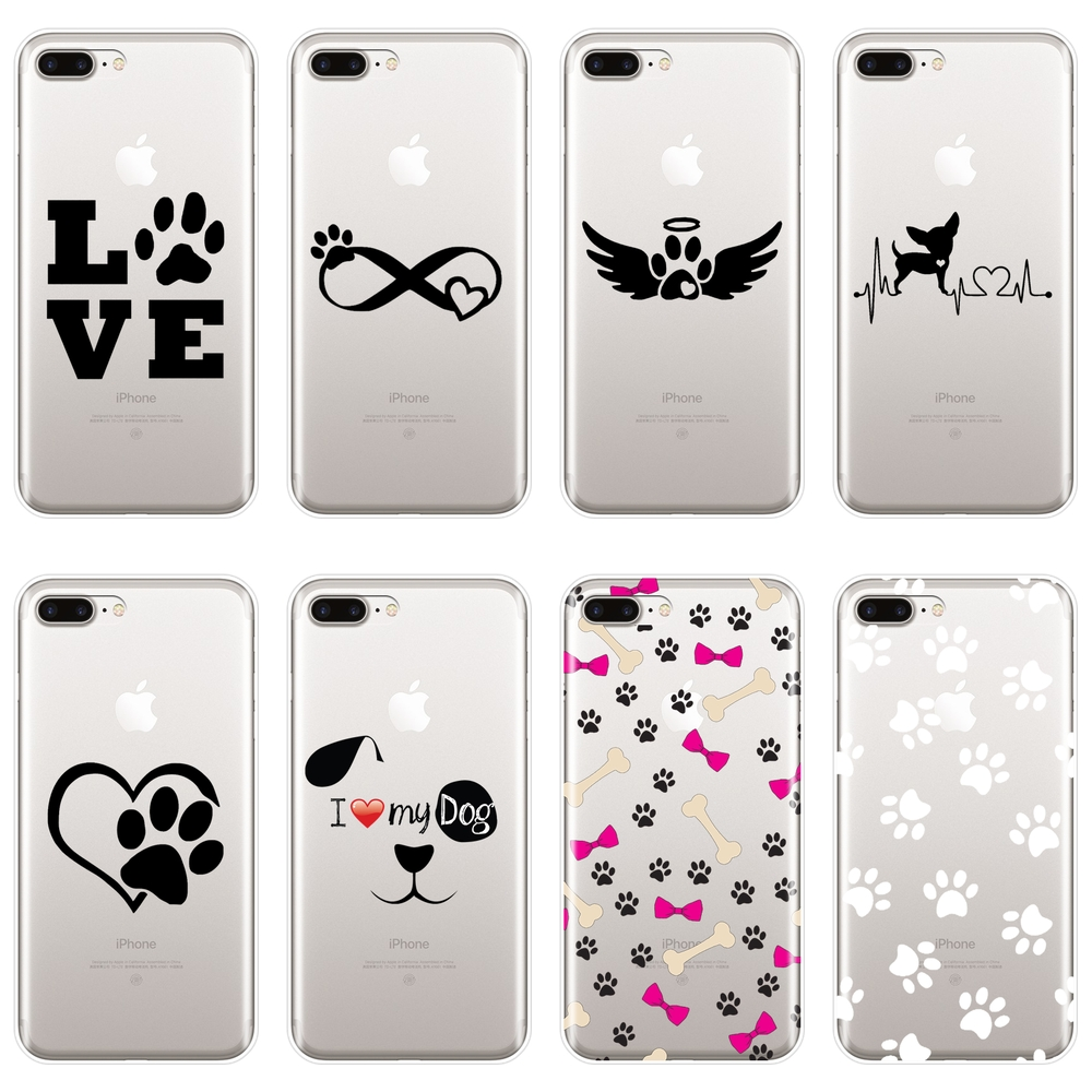Soft Back Cover For <font><b>iPhone</b></font> 6 S 6S <font><b>7</b></font> 8 X XR XS Max Heart Dog Puppy Love Cute <font><b>Phone</b></font> <font><b>Case</b></font> Silicone For Apple <font><b>iPhone</b></font> 8 <font><b>7</b></font> 6S 6 S Plus image