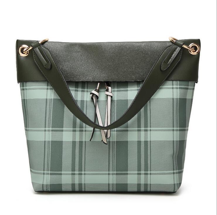 RUILANG New Women Designer Casual Large Shoulder Bag Female Fashion Ladies Checks PU Leather Handbag Tote Bag Girls Shopping Bag
