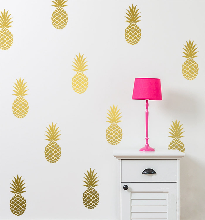 Kivehető ananász fali matrica, nagy 12 ananász matrica óvoda fali matrica dekorációval ingyenes szállítás