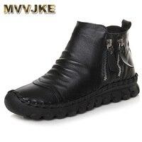 MVVJKE Cow Leather Women Ankle Boots Flat Round Toe Handmade Leather Shoes Autumn Platform Women Boots Black Bota Feminina