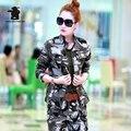 Новых женщин Камуфляж Военная Форма Наборы (Куртка + Брюки) Мода Army Green Плюс Размер 100% Хлопок Случайные устанавливает Женщин D34E1598