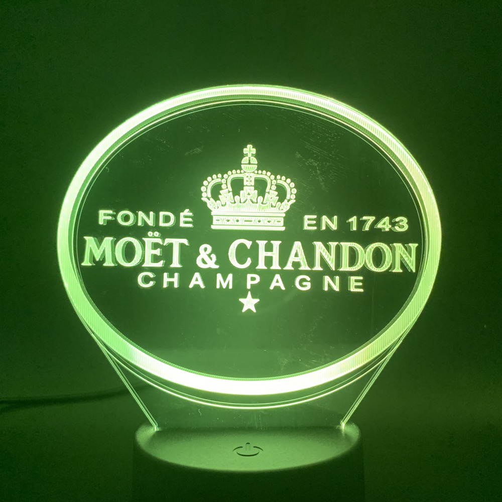 3d Led Night Light Lamp Moet Et Chandon Gift For Clients Friend Baby Nightlight Usb Or Battery Powered Office Decorative Lamp 3D