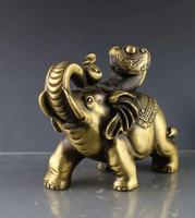 Rare Old QingDynasty Brass auspicious elephant ornaments Statue,hand carving crafts,best collection&adornment,free shipping