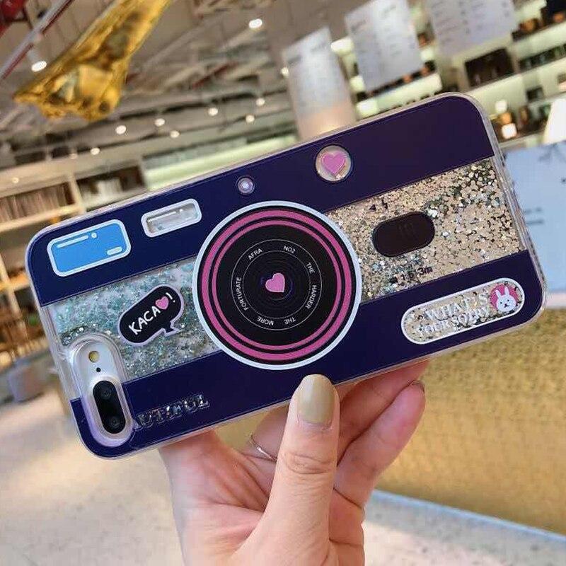 Cute Camera Dynamic Liquid Quicksand Glitter Phone Case For Xiaomi Mi 8 A2 6X A1 5X Mix 2S Redmi 5 plus Note 5 pro Cover Coque (3)