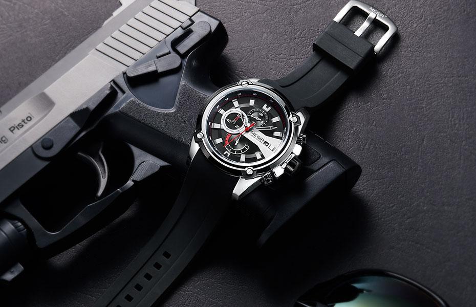 MEGIR Silicone Strap Sports Quartz Watch for Men