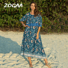 ZOGAA Prairie Chic Style Women Dress Summer New Brand Cloth Ruffled Robe Long Floral Print Short Sleeve Maxi Female