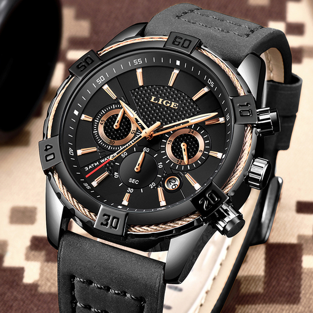 2019 Watch LIGE Mens Watches Top Brand Luxury Men Casual Leather Waterproof Chronograph Men Sport Quartz Clock Relogio Masculino