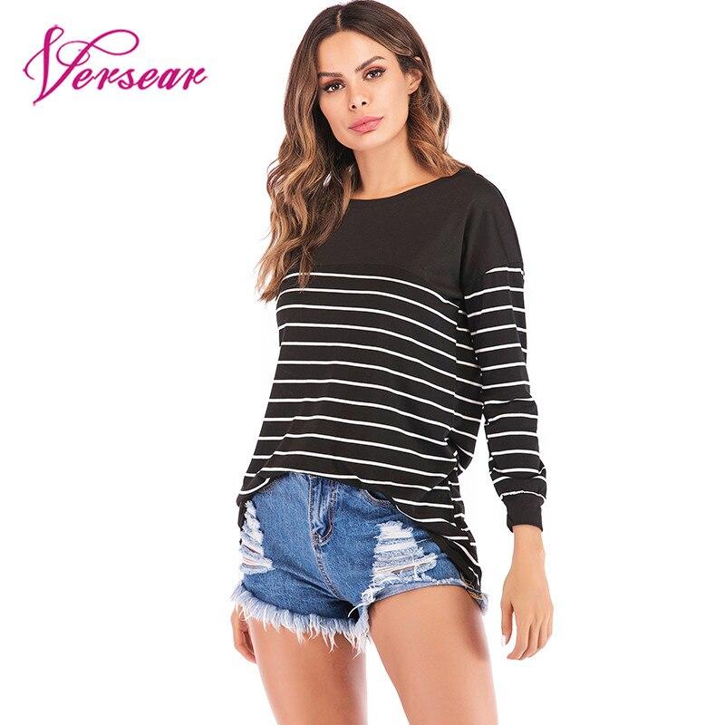 Women Harajuku Korea Stripe T-Shirt 2019 Autumn Female Casual Shirt Loose Long Sleeve Fashion Tee Shirts Basic Top Plus Size 5XL