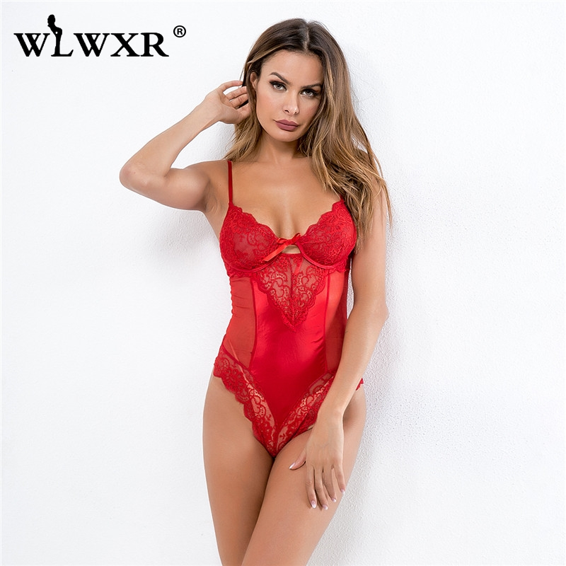 WLWXR Spaghetti Strap See Through Skinny Bandage Lace Bodysuit Women Tops Backless Transparent Red Sexy Bodycon Mesh Bodysuits