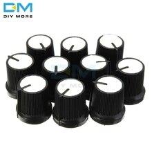 10 шт./партия, 6 мм ручка, белый циферблат, пластик, вращающийся конический потенциометр, отверстие, регулятор громкости, черные колпачки 0,6 см для WH148