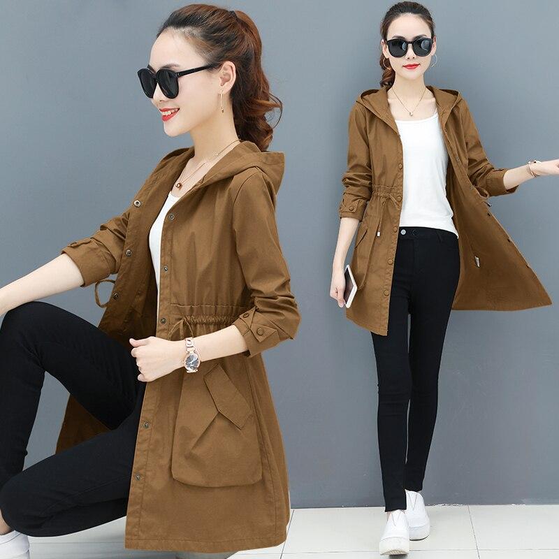 2019 Spring Autumn Thin   Trench   Coat Women Causal Long Sleeve With Hood Medium Long Outerwear Korean Fashion Womens windbreakers