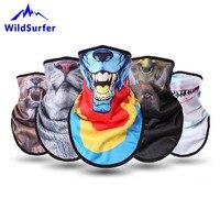 WildSurfer Fleece Skifahren Lätzchen Tier Gesicht Snowboard Volle Gesicht Maske Männer Wärmer Dreieckige 3D Print Schal Frauen Ski Maske FJ43-in Ski-Gesichtsschutz aus Sport und Unterhaltung bei