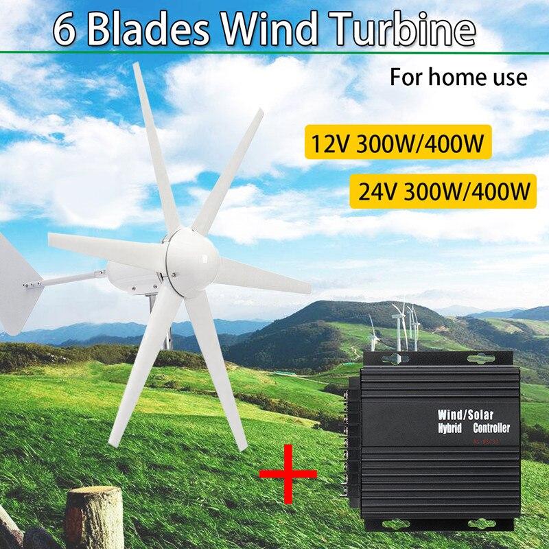 12/24 V 300 W/400 W générateur vent et solaire pour Turbine 6 lames Horizontal noir à faible bruit maison éolienne éolienne