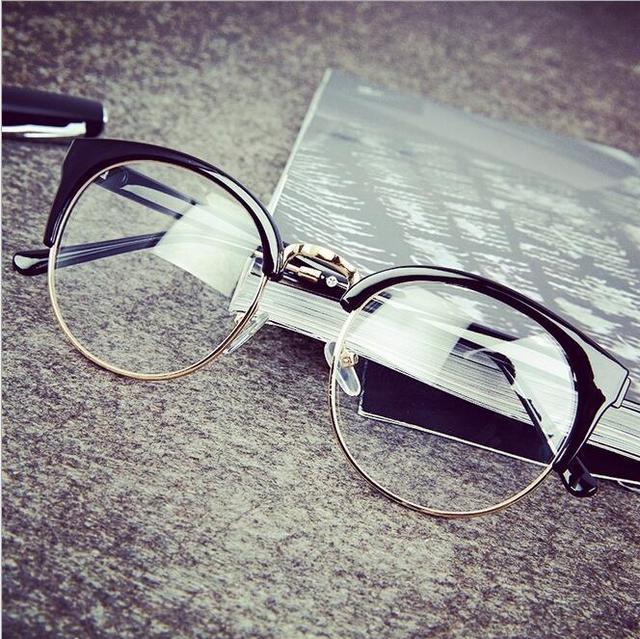 3ca82fdb311 Cat Eye Computer Goggle Semi-rim Half Frame Women Vintage Eyeglasses Frame Retro  Oval Frames Clear Lens Oculos Decorative Mirror