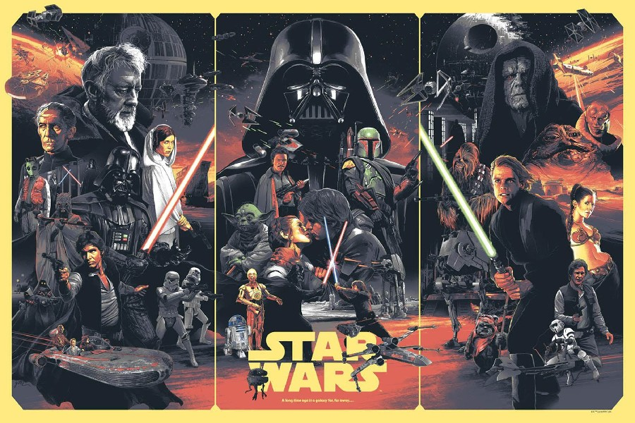 Darth Vader vs Luke Skywalker Fight Vintage Star Wars HUGE GIANT PRINT POSTER