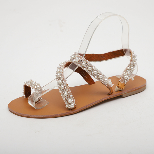 Mulheres Sandálias de Verão Moda Pérola Boemia Senhoras Sandálias Corda Do Grânulo Das Mulheres Sandálias Flat Flip Flops Sapatos Feminino